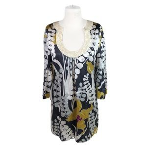 Trina Turk L Large Tunic Dress Caftan Silk Sequins